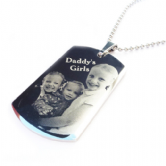 Photo/ Text Engraved Large Stainless Steel Dog Tag Necklace
